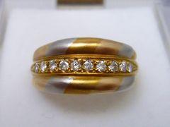K18 Pt900 コンビ 合計 0.19ct ダイヤモンドリング 12号 指輪