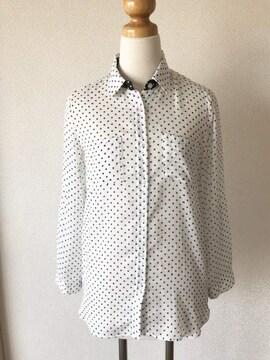 [ELLE]★ホワイト×ブラック・長袖ブラウス[シャツ]★