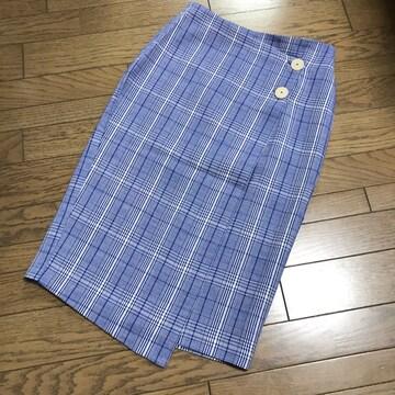 マンゴMANGO 膝下ロング チェック柄ラップスカート巻きスカート