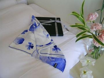 ★正規品★CHANEL★スカーフ花柄★ライトブルー&ホワイト★