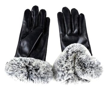レディース手袋 レディースアイテム ファー手袋 ブラック