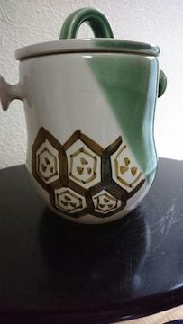 織部継承白磁亀甲織部 鉄砂釉草絵 緑釉  茶筅水差壺