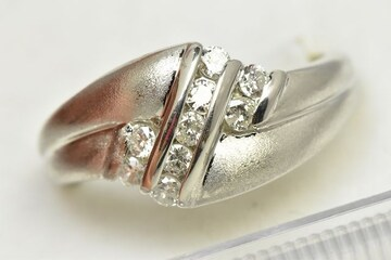 Pt850 プラチナ 合計 0.27ct ダイヤモンドリング 11号 指輪