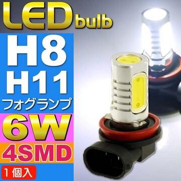 6W LEDフォグランプH8/H11ホワイト1個 超明るいSMD as90