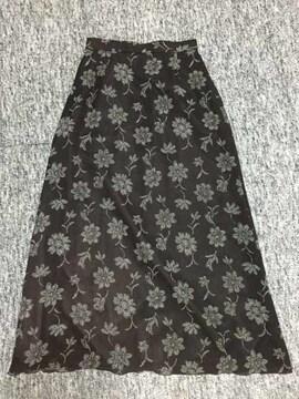 焦げ茶 花柄 エステルガーゼ ロング台形スカート