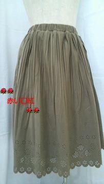L〜LL・大きいサイズフェイクスエードプリーツフレアースカートモカベージュ