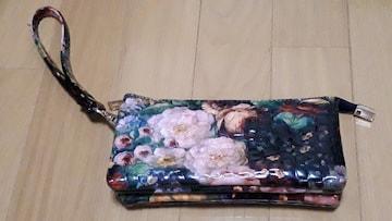 新品未使用  綺麗な花柄のエナメルポーチ財布にも収納たっぷり