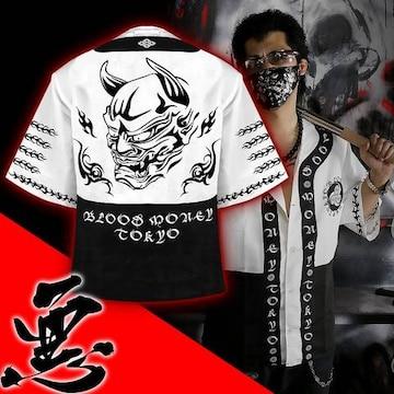 送料無料/ヤンキーチンピラオラオラ系和柄ベースボールシャツ/B系HIPHOP服15006-XL