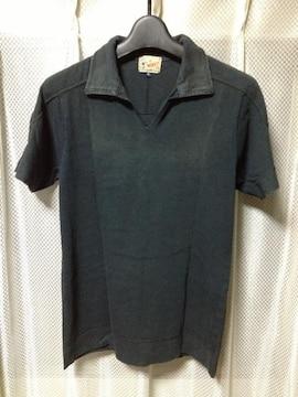 チャオパニックワークス ユーズド加工 半袖ポロシャツ Sサイズ 黒 チャコールグレー 古着