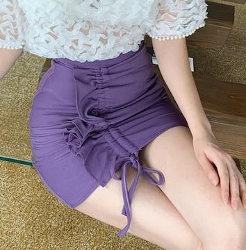 美脚効果♪シンプル*フリル付*シャーリング仕様*タイトスカート*パープル*紫