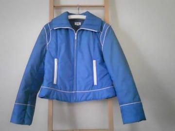 中綿 ジャンパー ショート丈 鮮やか ブルー SizeM 美品