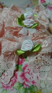 ハンドメイド★バラ付き大きめリボン60×70�o程6個