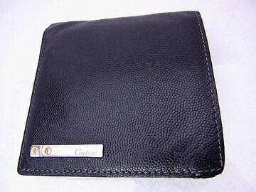 送無 Cartier カルティエ サントス ビスモチーフ 2つ折 財布 黒 USED★dot