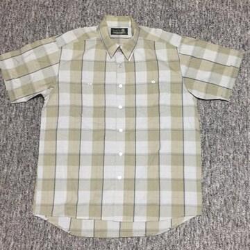 メンズ 薄手半袖チェックシャツ グリーン系 Lサイズ