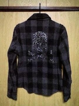 ROENロエン ブラックスタッズスカルチェックネルシャツ 44