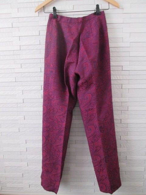 即決/OTTO collection/センタープレスペイズリー柄パンツ/紫/7 < 女性ファッションの