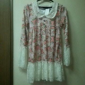 新品★袖・裾レース花柄チュニックワンピ/M