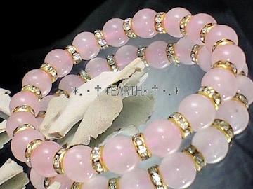 天然石★8ミリローズクォーツ紅水晶金ロンデル数珠