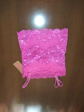 サラサラ ピンク&花柄レース スリップ S