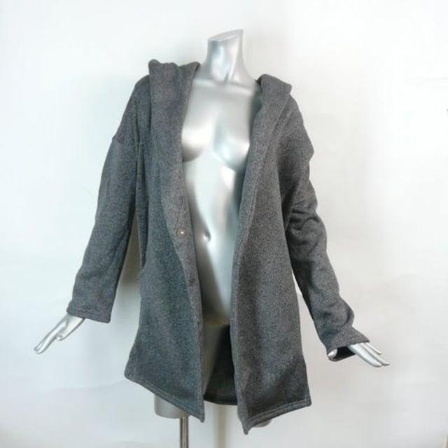 【新品★L】フーデッド・コーディガン★へリンボー柄 < 女性ファッションの