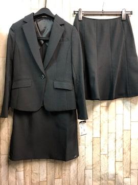 新品☆7号小さいプチサイズ2種スカートスーツ黒ストライプs856