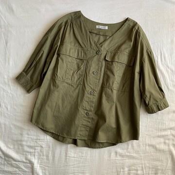 七分袖ミリタリーVネックシャツジャケットM/カーキ