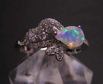 送込 『天然オパール』 デザインリング 指輪 17号