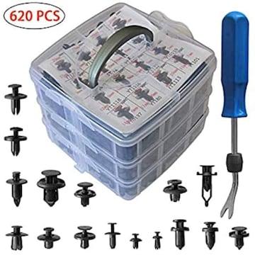 サイズ620PCS プラスチック製リベット 620個16種 ユニバーサル自