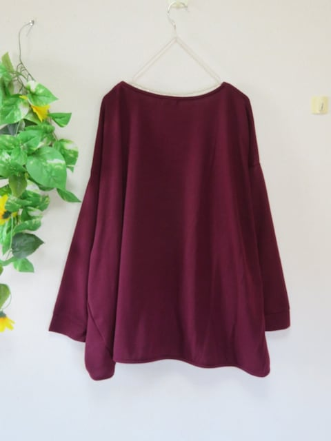新作☆大きいサイズ☆3Lワインレッド☆前裾タック入☆ゆったりドルマンチュニ < 女性ファッションの