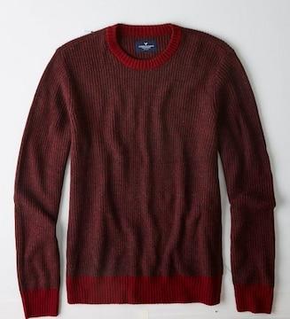 【American Eagle】Vintage AEOテクスチャークルーネックセーター XL/バーガンディ
