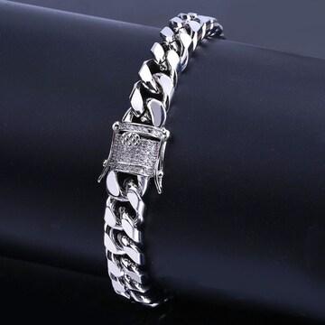 18kホワイトゴールドgpダイヤモンドCZマイアミブレスレット