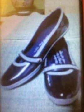 新品 レディースシューズ 靴 くつ  エナメル ブラック 24�p