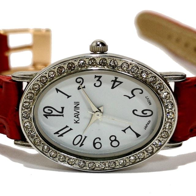美品【980円〜】KAVINI【ジルコニア】ドレスウォッチ 腕時計  < 女性アクセサリー/時計の