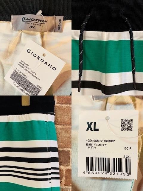 表記XL/新品!GIORDANO ボーダー柄 ショートパンツ 西海岸サーフスタイル < 男性ファッションの