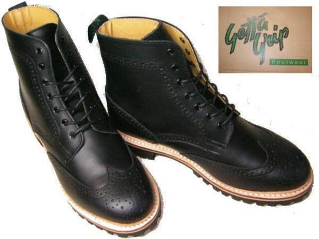 ゲッタグリップ ウィングチップ ブーツ8510BLカジュアルuk8.5  < 男性ファッションの