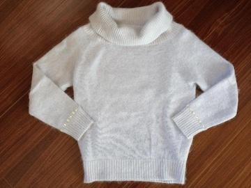 PBD 袖ビジュー アンゴラ混ニット セーター アイスブルー
