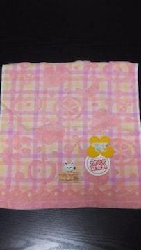 新品 フルーツ柄ウサギちゃんフェイスタオル(ピンク)