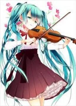 初音ミクがバイオリンを弾いてる生写真