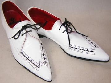 ジョージコックスGeorge Coxイギリス製トンガリ靴4586白uk7.5