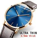 特A品 新品1円〜★送料無料★超薄型 ブルーゴールド ブラック腕時計ウォッチ