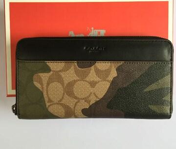 COACH 財布 新品コーチ F87189 迷彩 長財布 メンズスサイフ