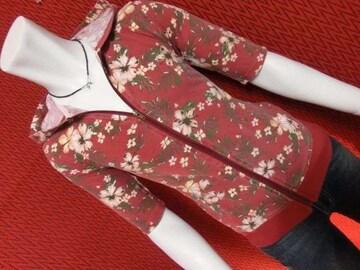 ヴィンテージ風花柄アロハ鹿の子ジップパーカー/RED/L