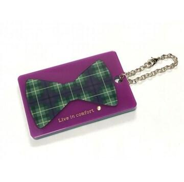 リブインコンフォートリボンミラー付きICカードパスケース新品