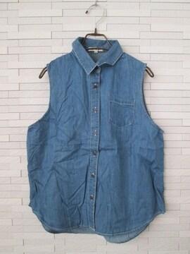 即決/CLEF DE SOL/ノースリーブデニムシャツ/ブルー/M