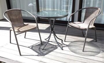 3点セット ガーデンチェア2脚&ガラステーブル カフェ風