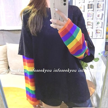 〜LL大きいサイズ/袖カラーボーダーTシャツ