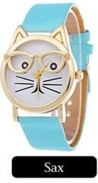 人気★ネコデザイン腕時計PUレザーベルト★SAX