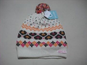 wb417 女 RIP CURL リップカール ボンボン付き ニット帽 柄