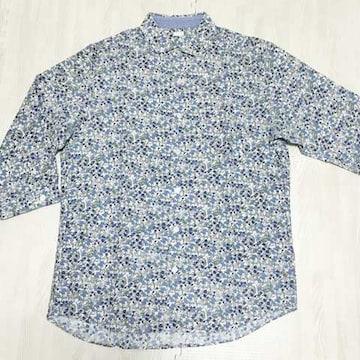 【美品】麻混 花柄7分袖シャツ/GU/メンズM/ブルー