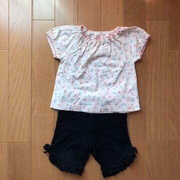 used子供服 花柄Tシャツとパンツ size60〜70